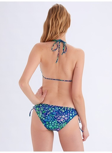 Ayyıldız Çiçek Desenli Ponponlu Bikini Takımı Saks